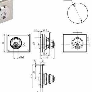 DOM Glaslås 225-01 GL m/2 stk. nøgler