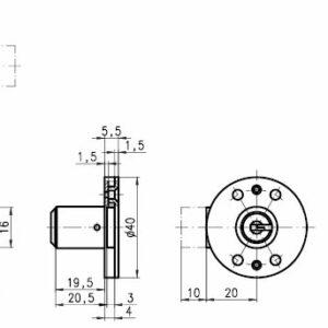 DOM Lås 313-013U-1 m/2 stk. nøgler