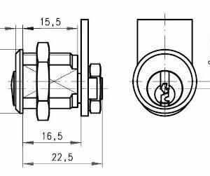 DOM Kamlås 316-02-5 m/2 stk. nøgler