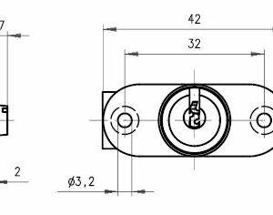 DOM Lås 339-09U-4 m/2 stk. nøgler