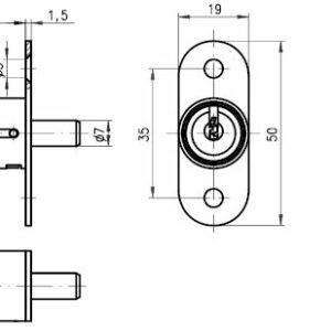 DOM Tryklås 369-037U-1 m/2 stk. nøgler