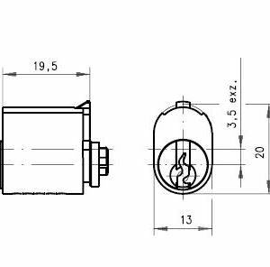 DOM Lås 212-01P-1 m/2 stk. nøgler